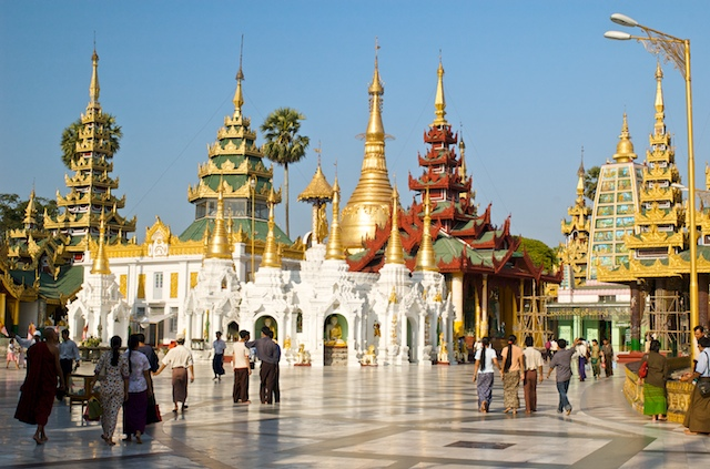This is Shwedagon Pagoda in Rangoon (Yangon), Burma (Myanmar).  Truthfully, there's not much happening in this picture...But look at that architecture!!!  What a beautiful place!
