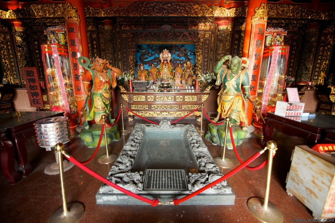 Matsu Islands are named so because they're the legendary home and burial place of Mazu, a historical figure now turned Goddess and worshiped by fishermen throughout Asia.  This is her tomb on Nangan Island.