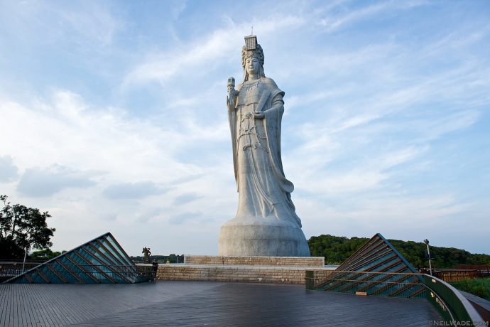 Matsu Islands are named so because they're the legendary home and burial place of Mazu, a historical figure now turned Goddess and worshiped by fishermen throughout Asia.  This is the largest statue of her in the world.