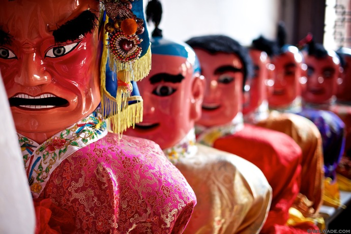 Costumes of some of Taiwan's Taoist Gods ready to be paraded in Nioujiao Village's Wulinggong Temple.